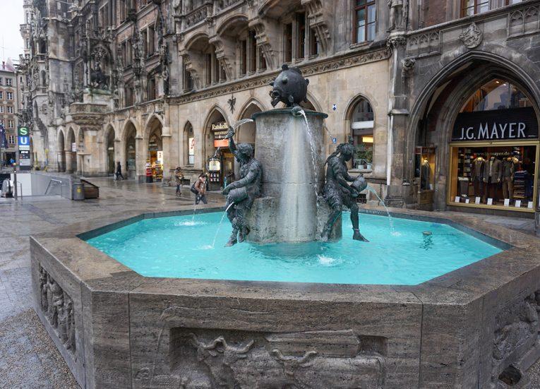 Fish's Fountain, Marienplatz Munich, Train Travel on Interrail in Winter in Europe
