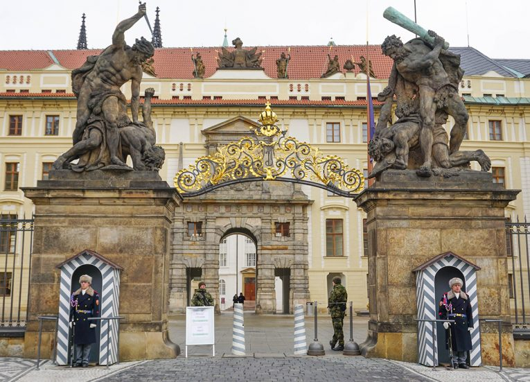 Front Entrance Gate of Prague Castle, Train Travel on Interrail in Winter