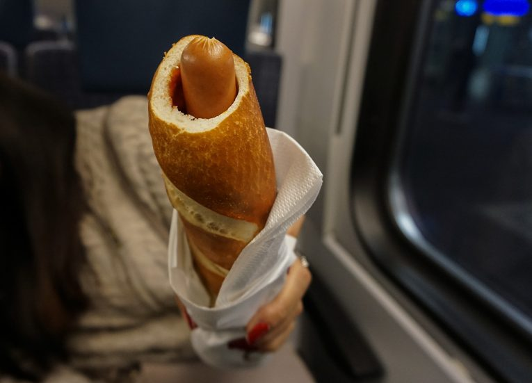 German Hot Dog on Trains, Interrail in Winter: Train Travel in Europe Itinerary