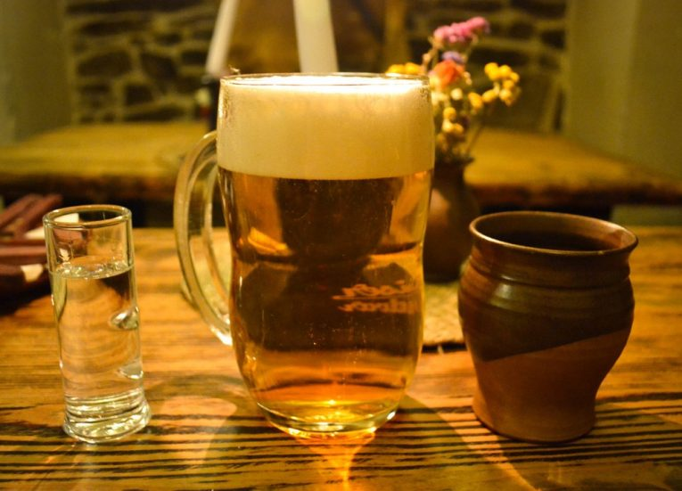 Local Beers and Grogs in Cesky Krumlov in Winter Snow (Czech Republic)