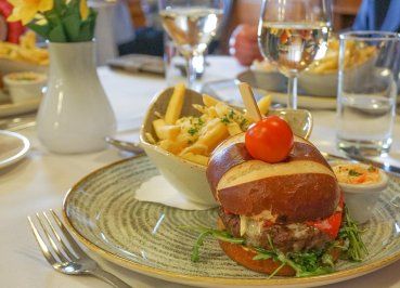 Fancy Burger, Mains at Members Dining Room Restaurant Parliament Buildings Northern Ireland