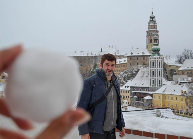 Snowball Fight, Cesky Krumlov in Winter Snow (Czech Republic)