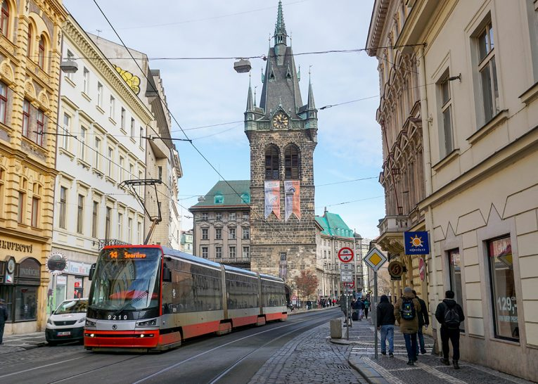Trams in Prague Old Town. Prague Czech, Train Travel on Interrail in Winter