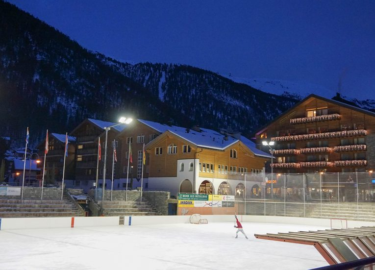 zermatt ice rink, Interrail in Winter Train Travel in Europe