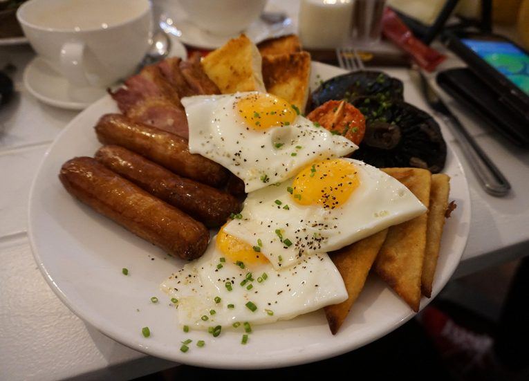 Breakfast Fry and Cafes on Main Street Bangor in Northern Ireland