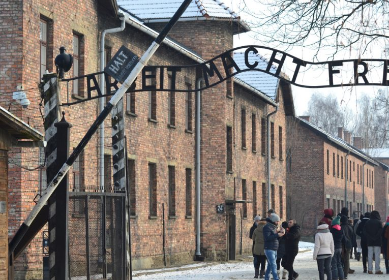 Entrance-to-Auschwitz-in-Poland-Winter-Road-Trip-in-Europe-Piland