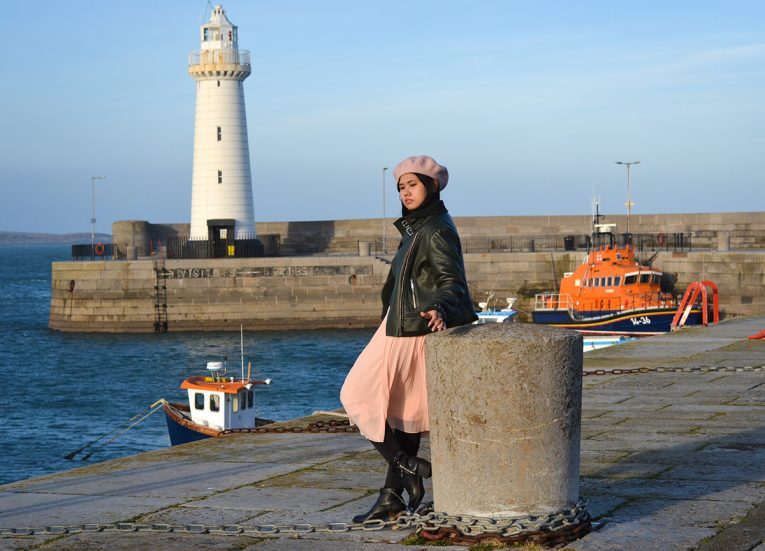 Lighthouse at Donaghadee Harbour Village in Northern Ireland