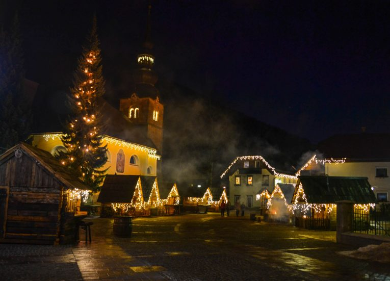 Night time at square in kranjska-gora-Winter-Road-Trip-in-East-Central-Europe