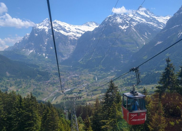 Cablecars Leaving Männlichen Royal Walk on Jungfrau Railway Pass
