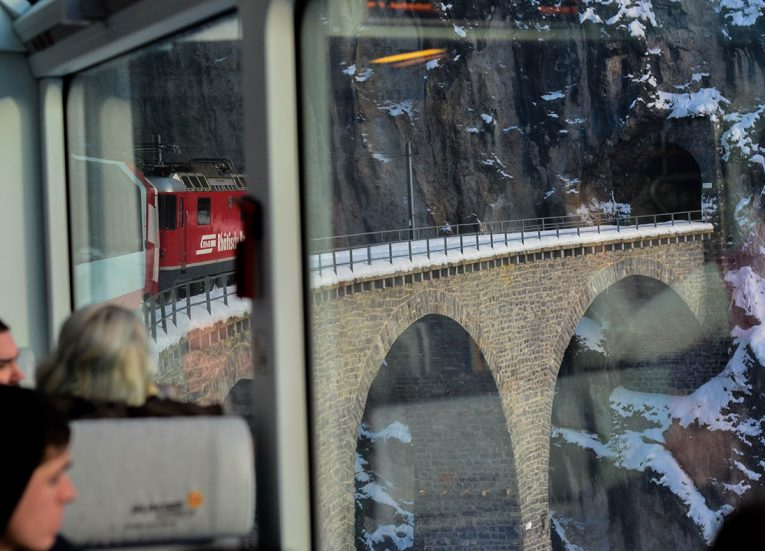 Crossing Landwasser Viaduct, Glacier Express Route: Zermatt to St Moritz