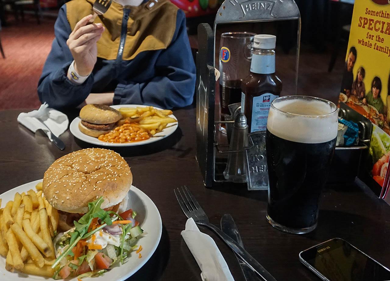 Restaurant Food at M&D Theme Park Scotland on Stena Line Day Tour