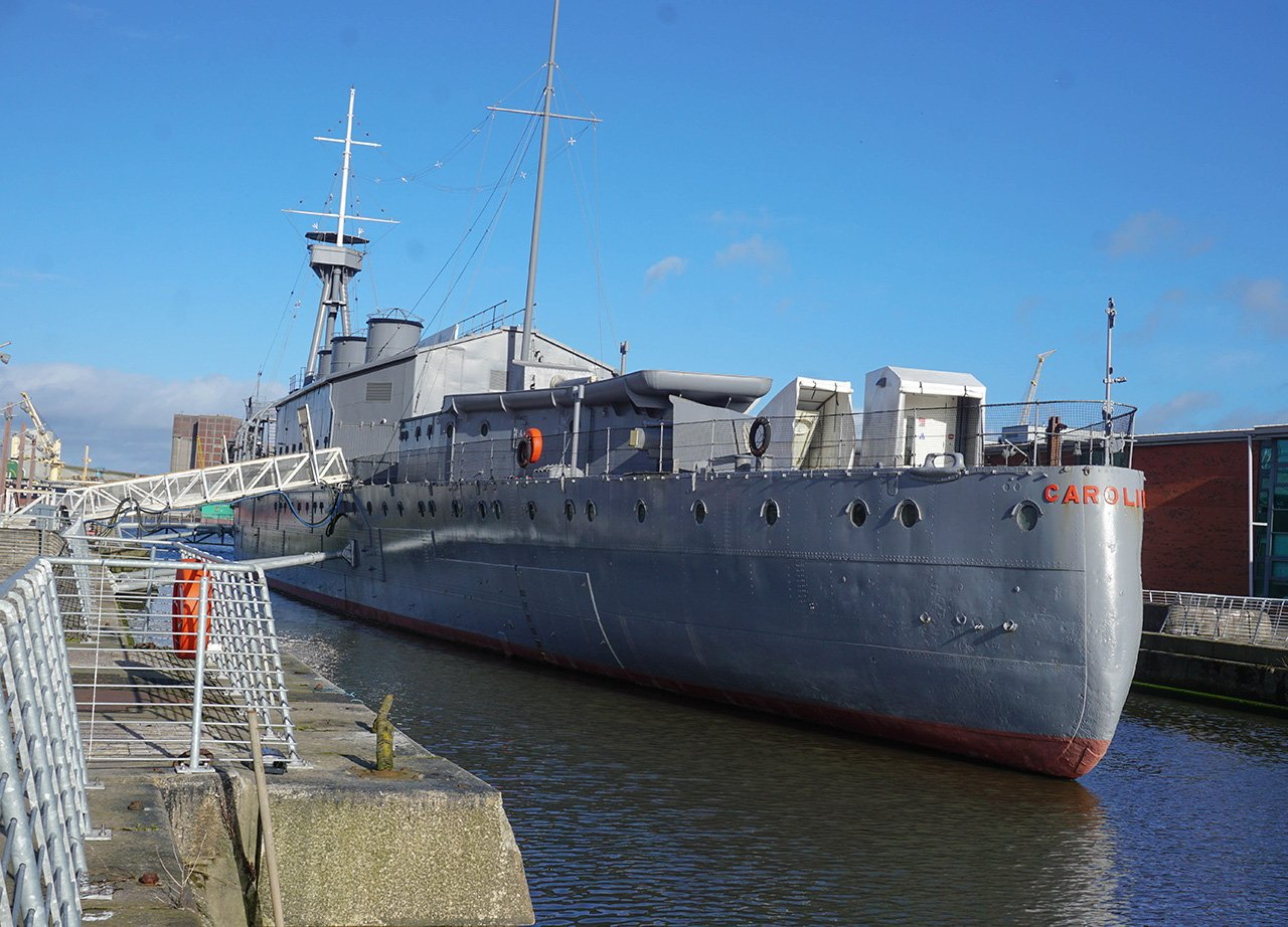 HMS Caroline in the Belfast Titanic Quarter Belfast