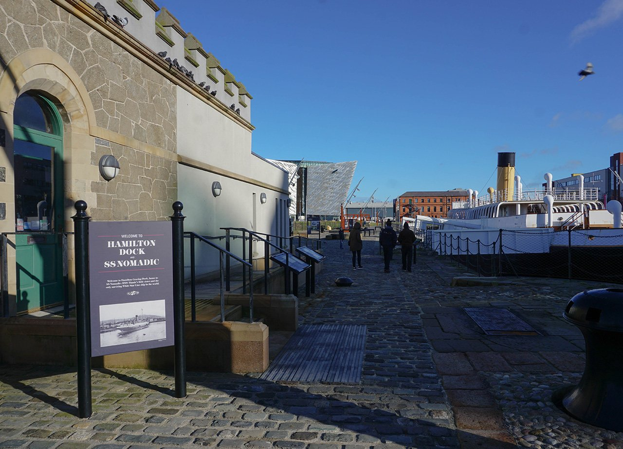Hamilton Dock and SS Nomadic at Belfast Titanic Quarter