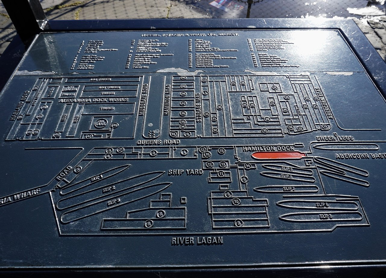 Map of Belfast Titanic Quarter on Information Board Northern Ireland