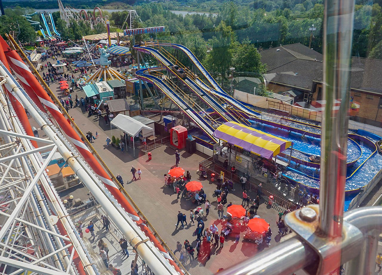 Ferris Wheel Views of Roller Coasters at M&D Theme Park Stena Line Day Tour
