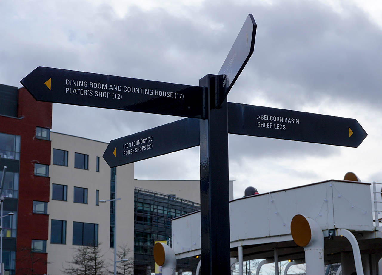 Signs and Tourist Attractions at Belfast Titanic Quarter