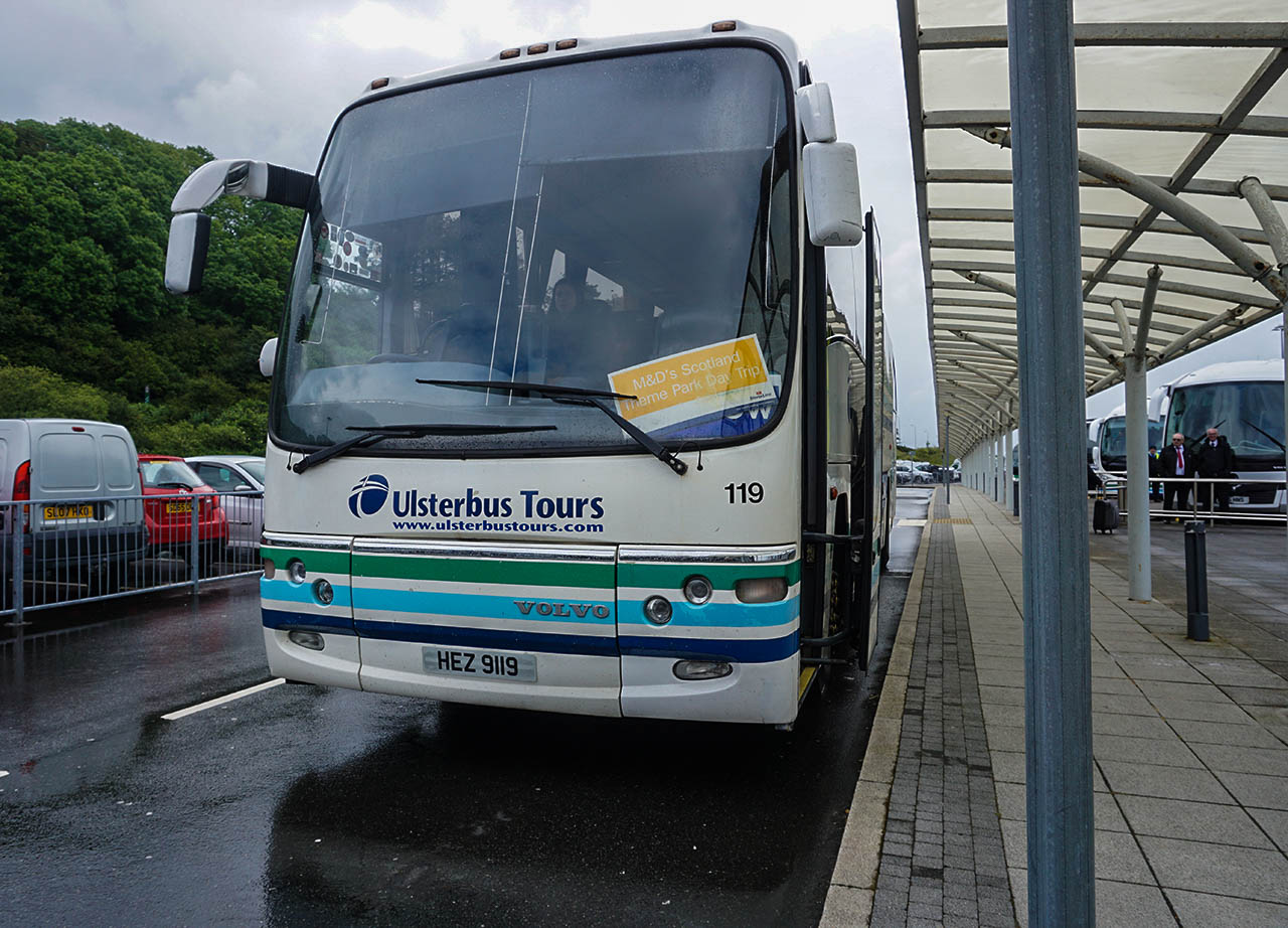 Ulster Bus Stop for Stena Line Day Tour to Scotland