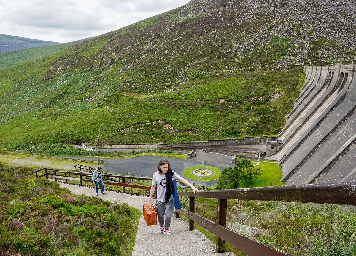 Climbing Steps to Ben Crom Reservoir in Mourne Mountains