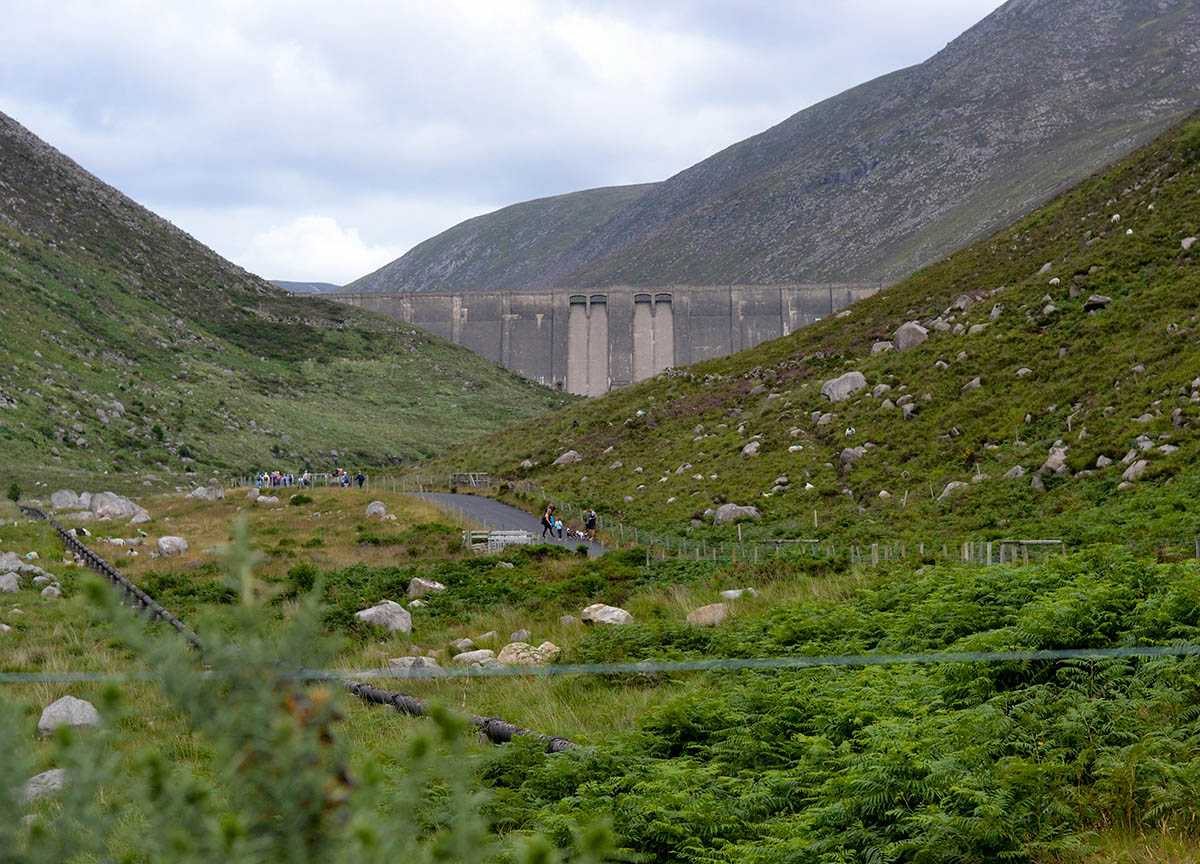 Dam Walls at Ben Crom Reservoir from Silent Valley Mournes