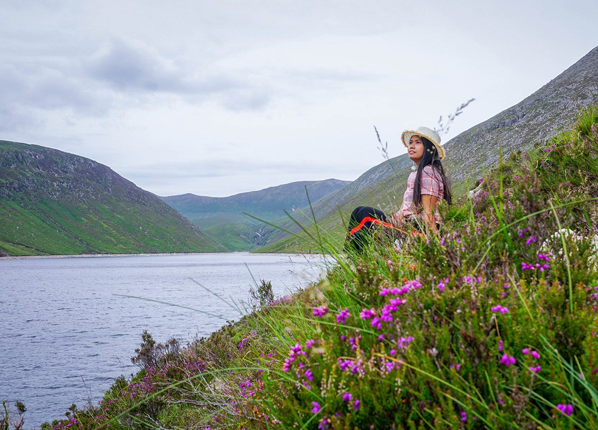 Fanfan Wilson Walking at Ben Crom Reservoir Mourne Mountains N Ireland
