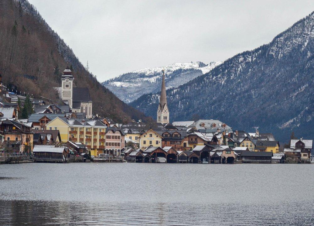 Hallstatt in Snow Winter Road Trip in East Central Europe