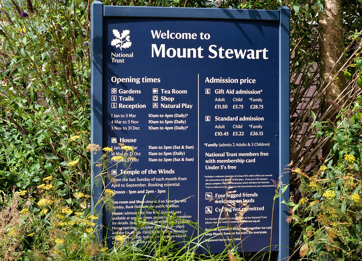 Entry Price and Times at Mount Stewart Visitor Centre Northern Ireland