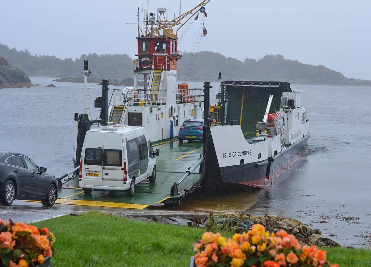 Car Crossing on Tarbert Ferry to Portavadie in Scotland Mull of Kintyre