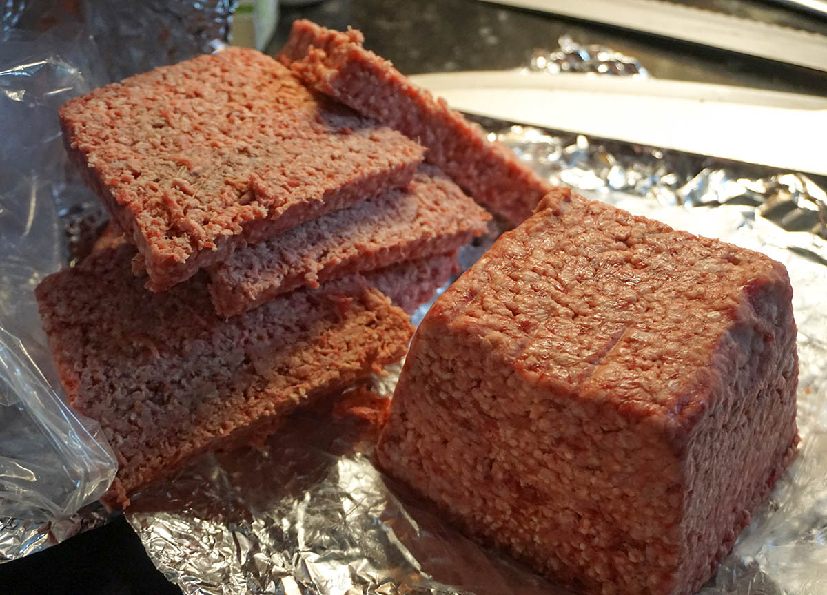 Traditional Beef Lorne Sausage Meat in Scotland. Traditional Scottish Cuisine