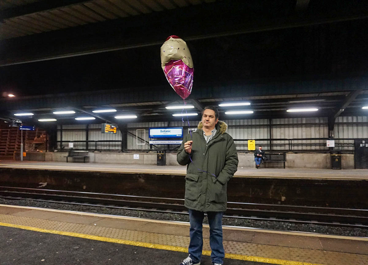 Balloon at Botanic Station in Belfast Northern Ireland
