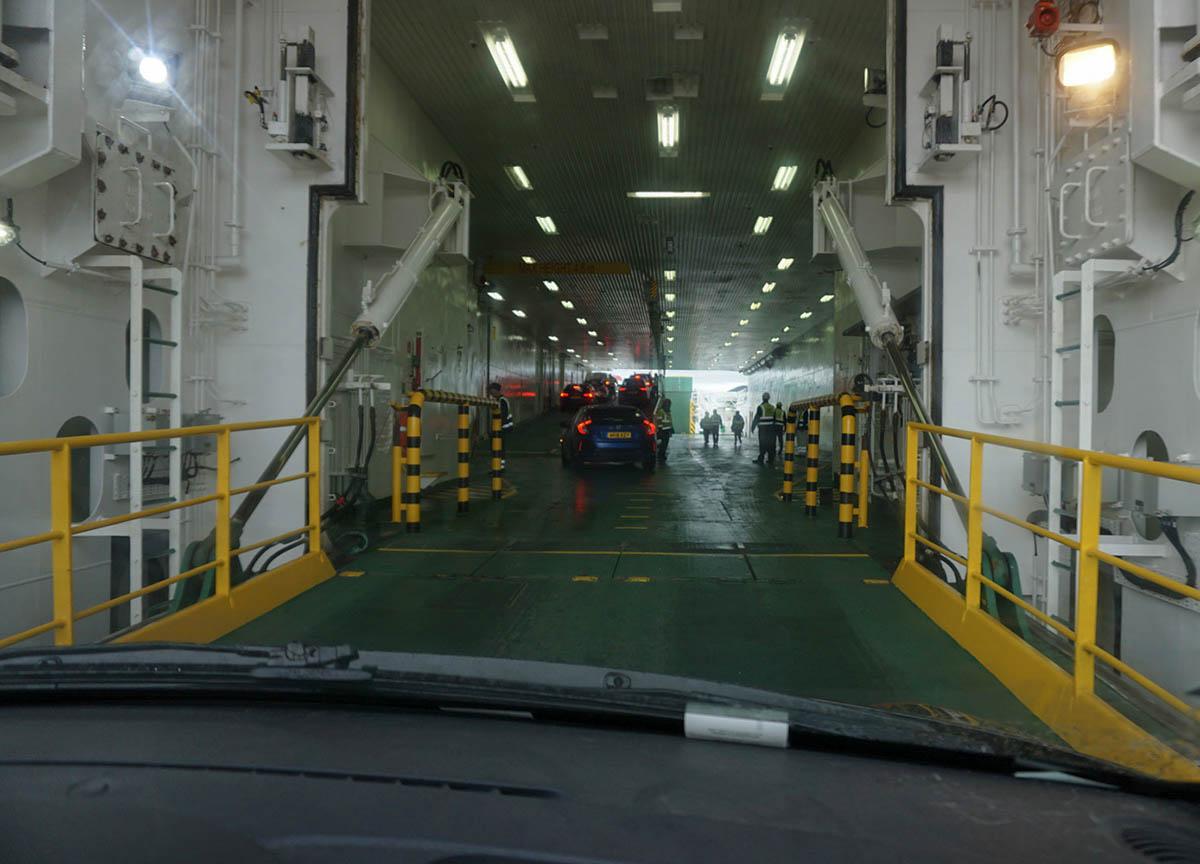 Boarding Car Ferry. Kennacraig Ferry to Islay in Scotland