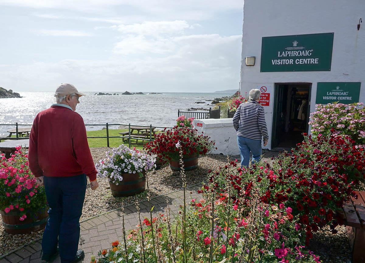 Entrance to Laphroaig Distillery on Islay Island in Scotland