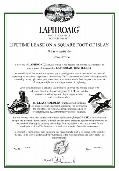 Friends-of-Laphroaig-Certificate-of-Ownership-Plot-of-Land-Distillery