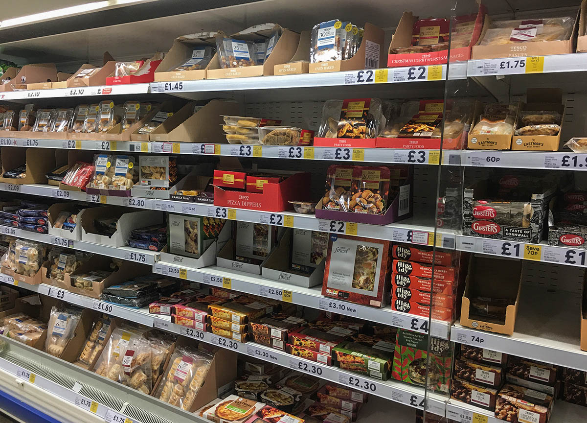 Pie Shelves in Tesco Supermarket Northern Ireland
