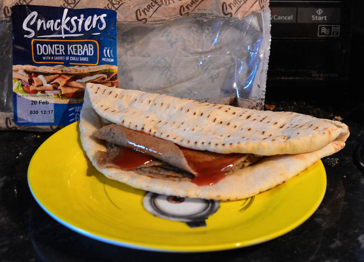 Snacksters Doner Kebabs Microwave and Hot Sauce food from B&M Food