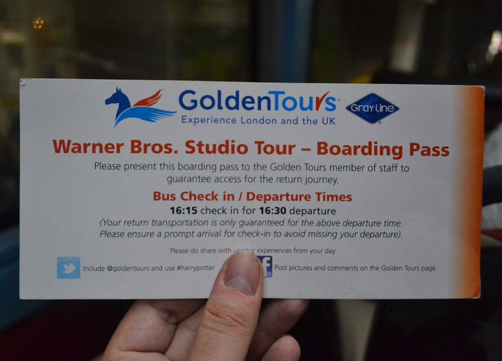 Bus Tickets for Golden Tours. Harry Potter Studios London