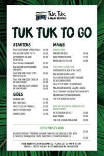 Tuk Tuk Bangor Delivery Menu Takeaway with Tuk Tuk to Go