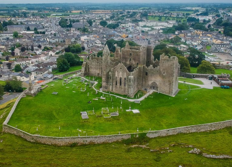 Drone Photo over Rock of Cashel in Tipperary Ireland's Ancient East Road Trip Itinerary