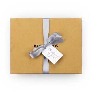 Banilla Box with Grey Ribbon and swing tag saying thinking of you