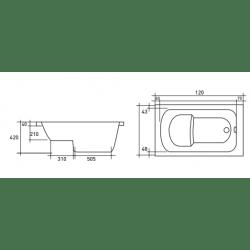 banio design bara baignoire sabot en acrylique blanc pieds 120x70cm