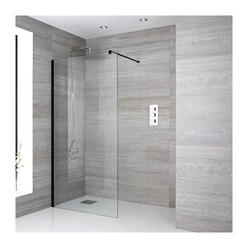 paroi de douche italienne noir de 120x200 cm vitrage avec bande satinee 8 mm
