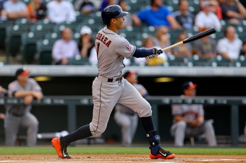 DENVER, CO - JUNE 17:  Carlos Correa #1 of the Houston Astros watches his two-run home run in the first inning against the Colorado Rockies during Interleague play at Coors Field on June 17, 2015 in Denver, Colorado. (Photo by Justin Edmonds/Getty Images) *** Local Caption *** Carlos Correa