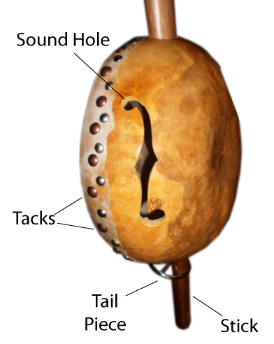 Labeled side profile of a gourd banjo