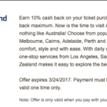 Bank Amerideal Air New Zealand 10% Cash Back Promotion (YMMV)