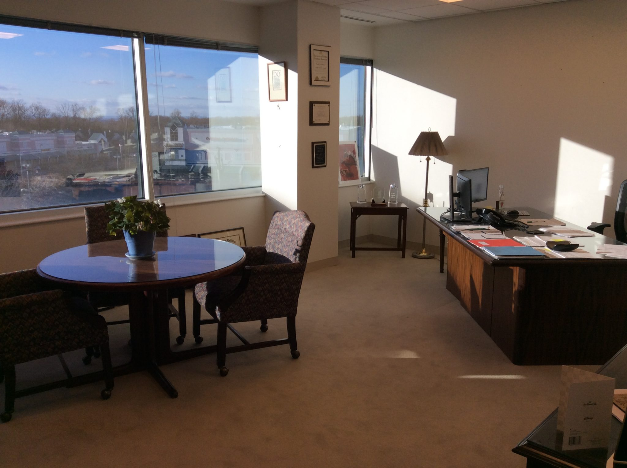 Fairfax, VA Insurance Agency Interior, Single Office Overlooking Fairfax  Streets.