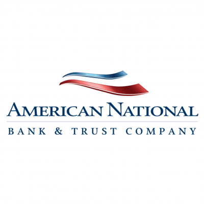 American National Bank logo, a red, white, and blue stripe over blue letters.