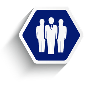 Employee benefit services HR services, blue hexagon with three people in it.