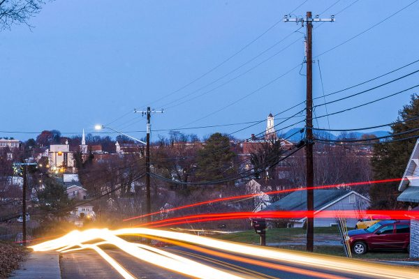 Bedford, VA Insurance Agency, downtown skyline at twilight.