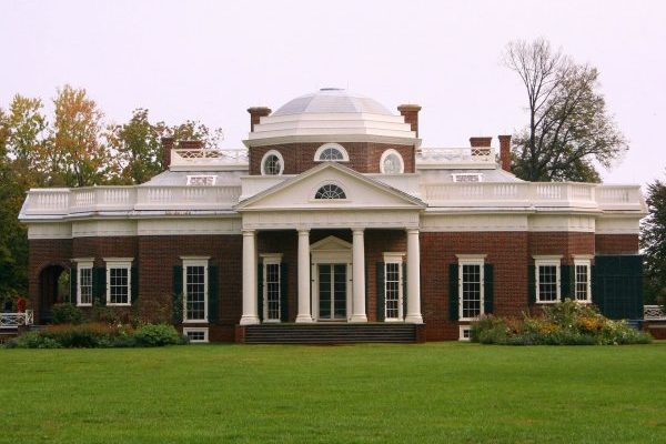 Charlottesville, VA insurance agency, Monticello, a two story brick home with four white columns and a white domed center.