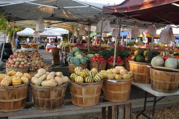 Danville, VA Farmers Market. Bushel baskets of vegetables, gourds, and melons on tables in outdoor market.