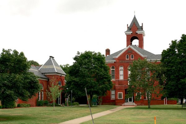 Eastern Shore of Virginia, old red brick, two story, Accomack County courthouse, crowned with bell tower.